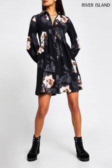 River Island Black Floral Shirt Smock Mini Dress