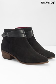 White Stuff Black Sarah Strappy Cuban Ankle Boots