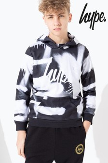 Hype. Black Blurred Mono Spray Print Hoody