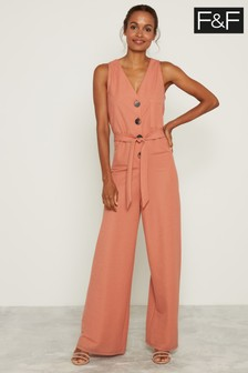 F&F Pink Button Front V-Neck Jumpsuit