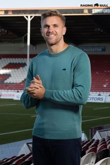 Raging Bull Green Crew Neck Cotton/Cashmere Knit Jumper