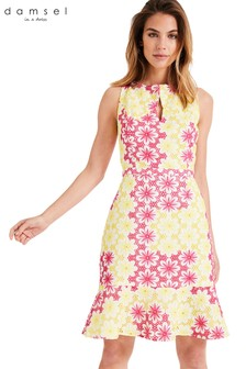 Damsel In A Dress Yellow Elanor Embroidered Dress