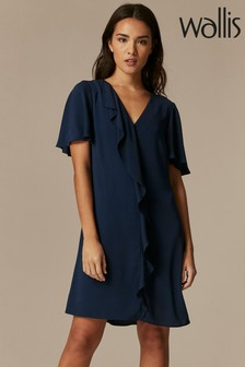 Wallis Navy Ruffle Front Shift Dress