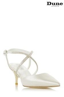 Dune London Debut Ivory Satin Diamante Cross Strap Wedding Shoes