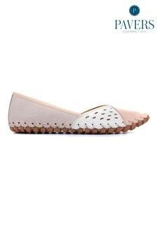 Pavers Natural Mutli Leather Ladies Slip On Shoes