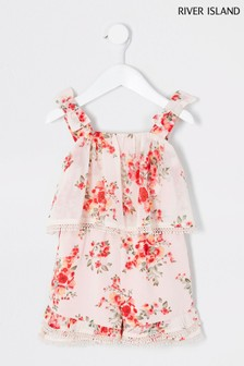 River Island Pink Light Floral Double Layer Playsuit