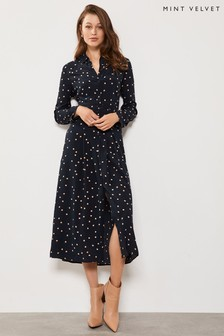 Mint Velvet Navy Spot Shirt Midi Dress