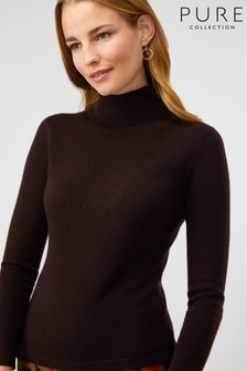 Pure Collection Brown Cashmere Roll Neck Sweater