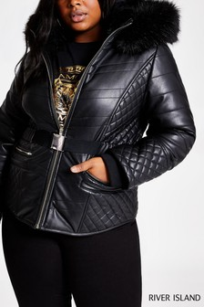 River Island Black PU Tatiana Belted Jacket