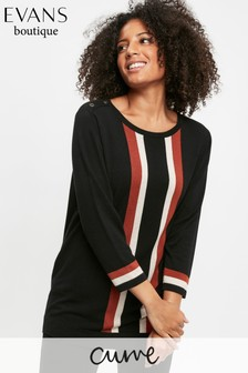 Evans Curve Black Vertical Stripe Jumper