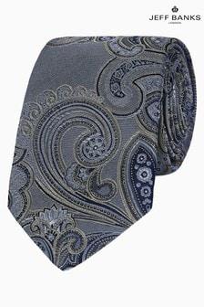 Jeff Banks Grey Intricate Paisley Design Silk Tie