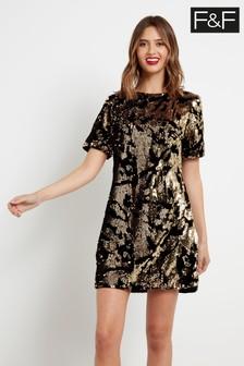 F&F Gold Wow Velvet Sequin Dress