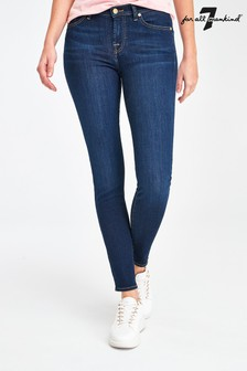 7 For All Mankind Mid Wash Blair Skinny Crop Jeans