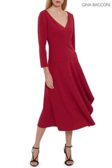 Gina Bacconi Red Eletra Moss Crepe Dress