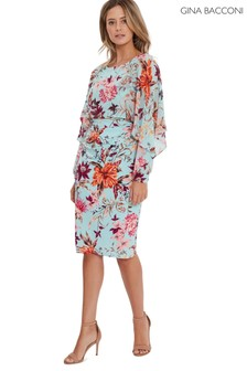 Gina Bacconi Green Marlayna Printed Dress And Chiffon Cape