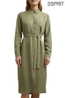 Esprit Green Long Sleeve Belted Dress