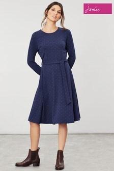 Joules Blue Monica Long Sleeve Jersey Dress