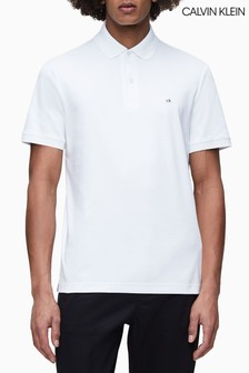 Calvin Klein White Soft Interlock Slim Fit Polo