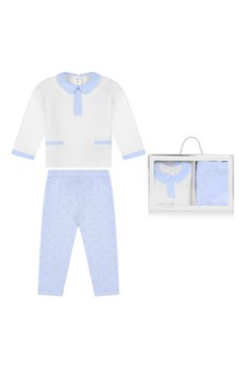 Baby Boys White/Blue Cotton Trousers Set