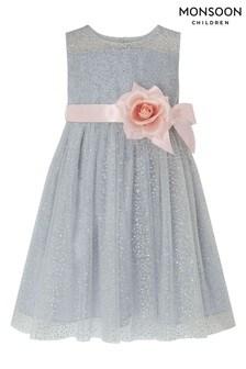 Monsoon Children Silver Baby Nova Glitter Dress