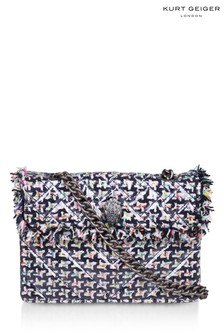 Kurt Geiger London Blue Tweed Kensington Fabric Bag
