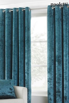 Verona Crushed Velvet Eyelet Curtains by Riva Paoletti