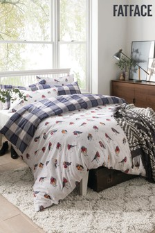 FatFace Brushed Cotton Flannel Robin And Tartan Check Reversible Duvet Cover and Pillowcase Set