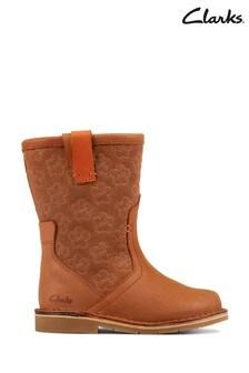Clarks Tan Leather Comet Pop Boots