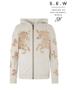 Monsoon Oatmeal S.E.W Sequin Unicorn Hoody
