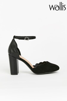 Wallis Whisper Black Scallop Two Part Block Shoes