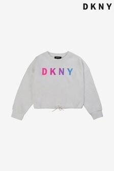 Белый свитшот с логотипом DKNY