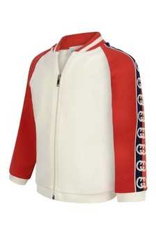 GUCCI Kids Baby Boys White Cotton Zip Up Top