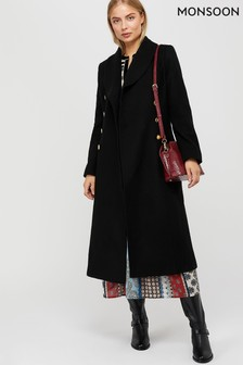 Monsoon Black Rosalie Fit And Flare Coat