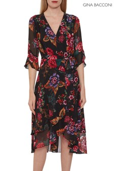 Gina Bacconi Black Marilene Floral Chiffon Dress