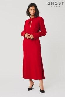 Ghost London Black Julia Chillie Satin Dress