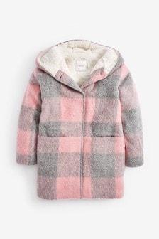 方格圖案羔羊毛領外套 (3-16歲)