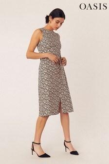 Oasis Natural Animal Midi Dress