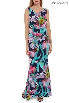 Gina Bacconi Blue Gusta Floral Jersey Maxi Dress