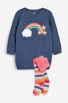 Rainbow Jumper Dress With Tights (3mths-7yrs)