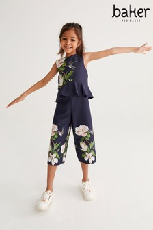 Baker by Ted Baker Girls Navy Floral Jumpsuit