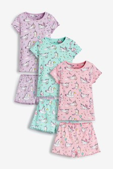 3 Pack Unicorn Short Pyjamas (9mths-12yrs)