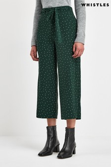 Whistles Green Sprinkle Print Tie Waist Trousers