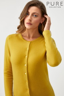 Pure Collection Yellow Cashmere Crew Neck Cardigan