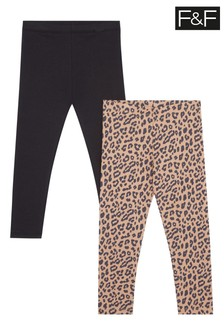 F&F Multi Brown Brushed Leopard Leggings Two Pack