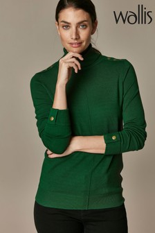 Wallis Green Stud Seam Polo Neck Jumper