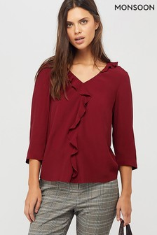 Monsoon Ladies Red Gini Frill Blouse