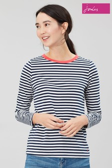 Joules Blue Selma Crew Jumper With Pop Neck Trim