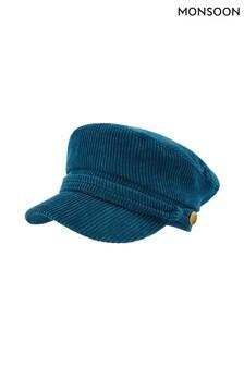Monsoon Blue Brit Baker Boy Cord Hat