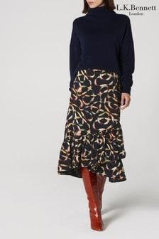 L.K. Bennett Black Florentin Wrap Skirt