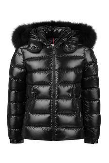 Girls Black Down Padded Bady Faux Fur Jacket